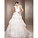 A-line V-neck Chapel Train Taffeta  Wedding Dress