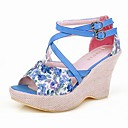 Leatherette Wedge Sandals With Buckle For Party/Evening (More Colors)