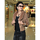 3/4 Sleeve Rabbit Fur Casual Jacket With Buttons