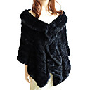Genuine Rabbit Fur Ruffled Shawl