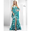 Trumpet/ Mermaid V-neck Floor-length Taffeta Tulle Evening Dress