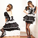 Cute And Sexy Black Polyester Maid Suit with White Lace (2 Pieces)