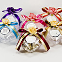 Clear Plastic Favor Holder With Bow And Flower (Set of 6)