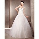 A-line Strapless Chapel Train Organza And Lace Wedding Dress