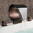Antique Oil Rubbed Bronze Waterfall Widespread Bathroom Sink Faucet