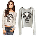 Cartoon Dog Print Sequins Round Collar Sweater