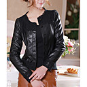 Long Sleeve Collarless Party/ Career PU Jacket With Lace  (More Colors)