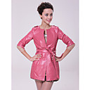 3/4 Sleeve Collarless Party/ Career Lambskin Leather Coat With Belt (More Colors)