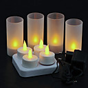 4 pc Warm Yellow LED Rechargeable Flameless Tea Light Candles