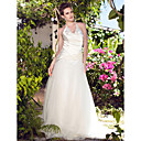 A-line Strapless Floor-length Elastic Silk-like Satin Tulle Wedding Dress