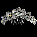 Silver Alloy Rhinestone And Pearl Bow Hair Comb