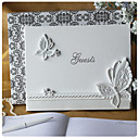 Butterfly Themed Wedding Guest Book in White Resin