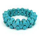 Diamond And Bone Design Turquoise Elastic Ladies' Strand Bracelet