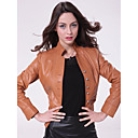 Long Sleeve Standing Collar Party/ Career Lambskin Leather Jacket With Pockets  (More Colors)