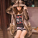 Long Sleeve Hooded Collar Evening/ Career Faux Fur Coat With Pockets