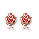Red Crystal Gold High Quality Alloy Earrings
