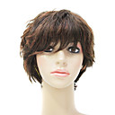 100% Human Hair Capless Short Curly Brown Wig