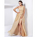 A-line Princess One Shoulder Floor-length Chiffon Evening Dress With Split Front