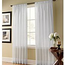 (Two Panels) Solid Contemporary White Sheer Curtains