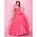 Ball Gown Scalloped/Strapless  Floor-length Organza  Prom Dresses
