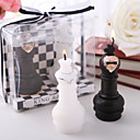 King &amp; Queen Chess Piece Candle Favors(set of 4 boxes)