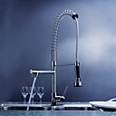 Contemporary Solid Brass Spring Kitchen Faucet with Two Spouts - Chrome Finish