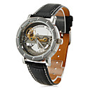 Men's Fashionable Style PU Analog Mechanical Wrist Watch (Black)