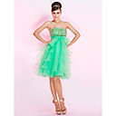 A-line Strapless Knee-length Organza Cocktail Dress