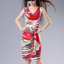 Slim Colorful Silk Cotton Sleeveless Dress