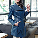 Fashion Long Sleeve Turndown Collar Party/ Career Lambskin Leather Coat (More Colors)