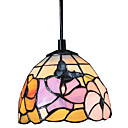 60W Tiffany Pendant Light with 1 Light Butterfly And Flower Pattern