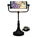 Tiffany Glass Table Lights with Purple Rose Pattern Shade