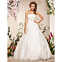 Ball Gown Strapless Floor-length Lace Satin Wedding Dress