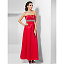 A-line Strapless Ankle-length Crystal Detailing Satin Evening Dress