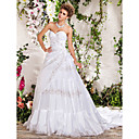 Ball Gown Sweetheart Strapless Chapel Train Beading Wedding Dress