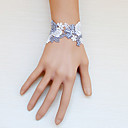 Handmade Gray and White Rose Pattern Lace Classic Lolita Bracelet