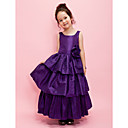 A-line Scoop Ankle-length Taffeta Flower Girl Dress