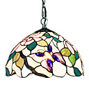 60W Tiffany Pendent Light with 1 Light in Purple Butterfly Pattern