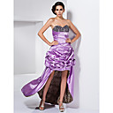 A-line Sweetheart Asymmetrical Stretch Satin Evening Dress With Beading