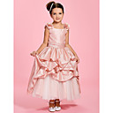 A-line Bateau Ankle-length Taffeta Flower Girl Dress