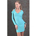 Sexy V-neck Backless Dress(Blue+Green 2pcs/set)(Bust:86-102Waist:58-79Hips:90-104Length:70CM)