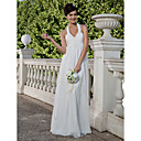 Sheath/ Column Halter Floor-length Chiffon Wedding Dress