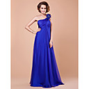 A-line One Shoulder Floor-length Watteau Train Chiffon Mother of the Bride Dress