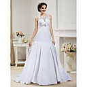A-line Jewel  Chapel Train Lace And Satin Wedding Dress