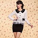 TS VINTAGE Contrast Color Knitted Collar Lace Blazer
