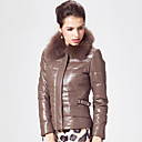Long Sleeve Fox Fur Collar Lambskin Leather Jacket with Down(More Colors)
