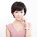 Capless Short Black Wavy 100% Human Hair Wig