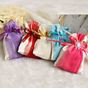 Satin Favor Bags With Ribbon And Rhinestone - Set of 12 (More Colors)