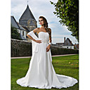 A-line Sweetheart Strapless Chapel Train Chiffon Wedding Dress With A Wrap