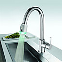Solid Brass Kitchen Faucet with Color Changing LED Light